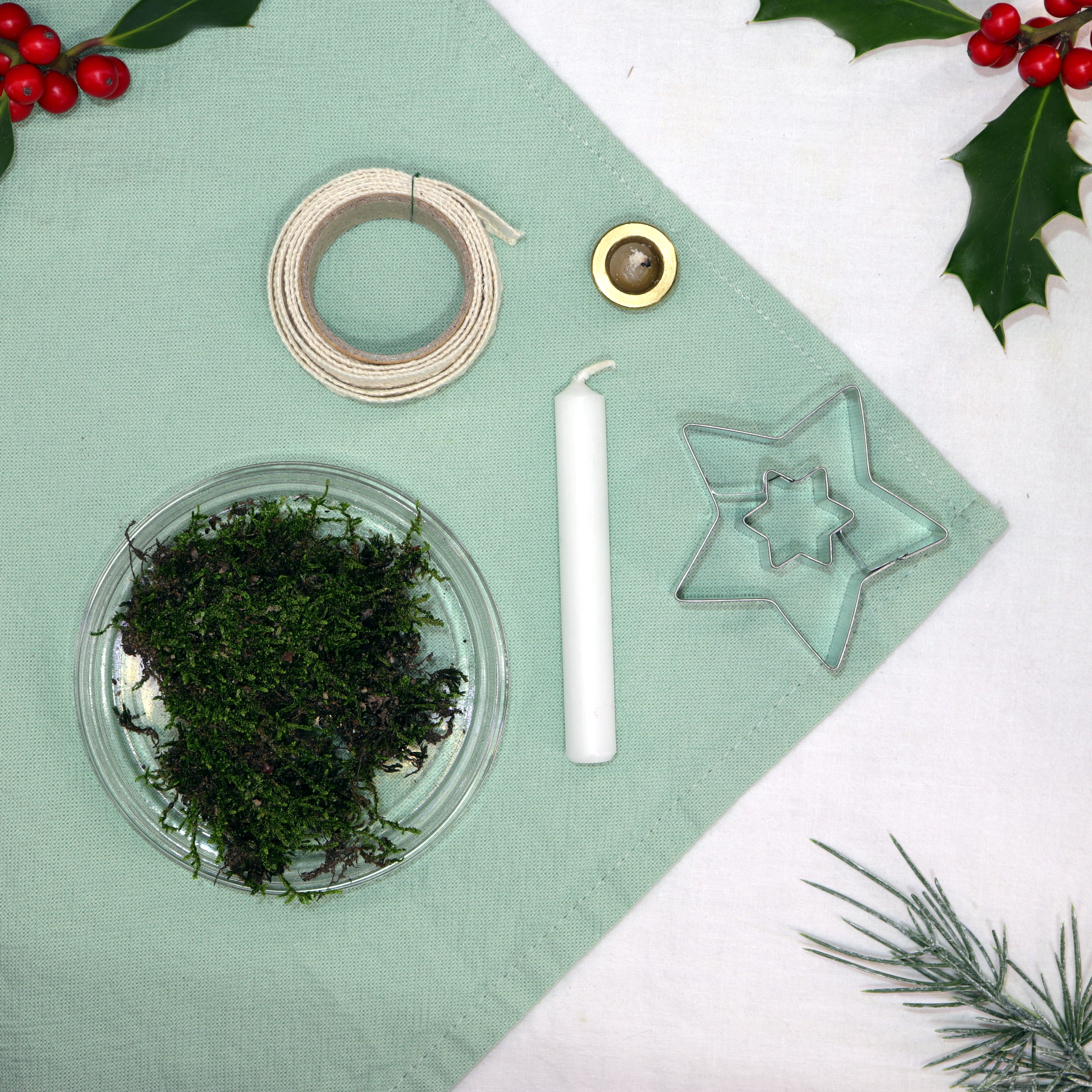 Diy Candle Holder Made Out Of Cookie Cutter Moss And Crochet Ribbon
